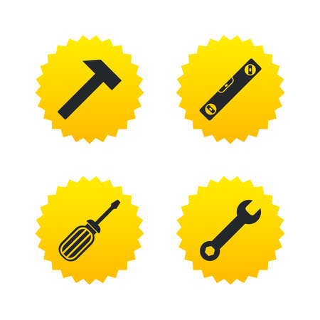 Screwdriver and wrench key tool icons. Bubble level and hammer sign symbols. Yellow stars labels with flat icons. Vector