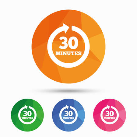 Every 30 minutes sign icon. Full rotation arrow symbol. Triangular low poly button with flat icon. Vector