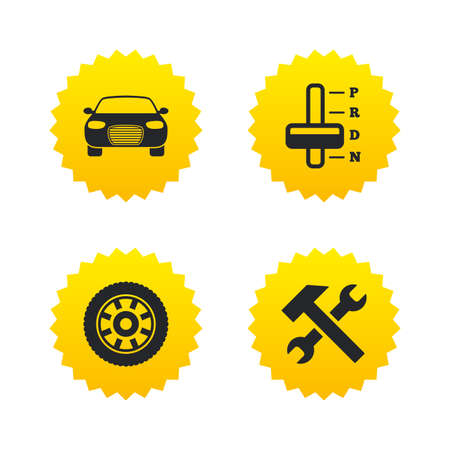 automatic transmission: Transport icons. Car tachometer and automatic transmission symbols. Repair service tool with wheel sign. Yellow stars labels with flat icons. Vector Illustration
