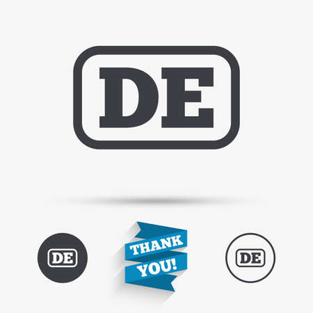 deutschland: German language sign icon. DE Deutschland translation symbol with frame. Flat icons. Buttons with icons. Thank you ribbon. Vector Illustration