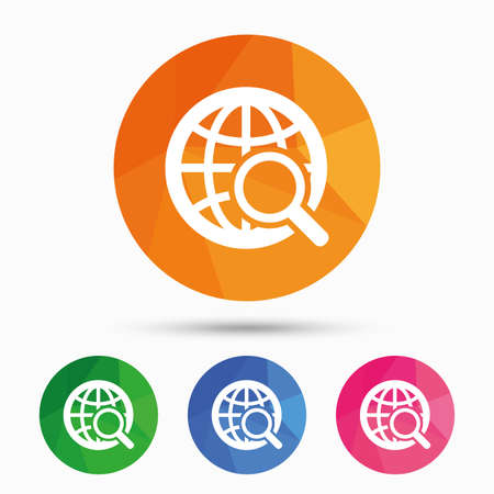 Global search sign icon. World globe symbol. Triangular low poly button with flat icon. Vector