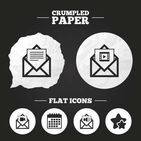 webmail: Crumpled paper speech bubble. Mail envelope icons. Message document symbols. Video and Audio voice message signs. Paper button. Vector