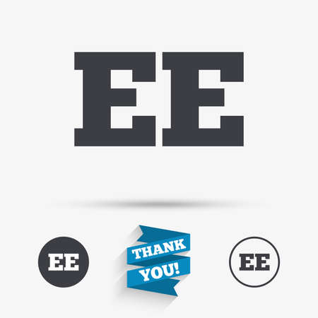 ee: Estonian language sign icon. EE translation symbol. Flat icons. Buttons with icons. Thank you ribbon. Vector Illustration