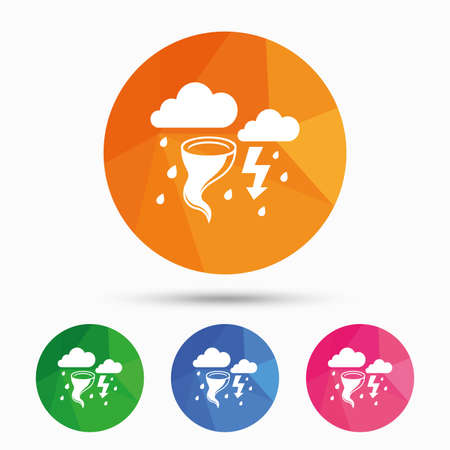 gale: Storm bad weather sign icon. Clouds with thunderstorm. Gale hurricane symbol. Destruction and disaster from wind. Insurance symbol. Triangular low poly button with flat icon. Vector Illustration