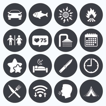 sleeping car: Calendar, wifi and clock symbols. Like counter, stars symbols. Hiking travel icons. Camping, shower and wc toilet signs. Tourist tent, fork and knife symbols. Talking head, go to web symbols. Vector