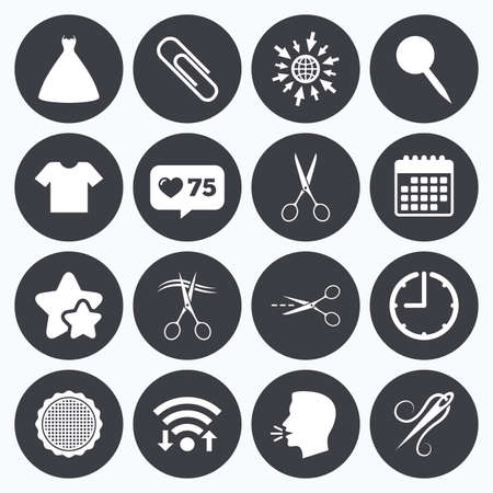 canva: Calendar, wifi and clock symbols. Like counter, stars symbols. Tailor, sewing and embroidery icons. Scissors, safety pin and needle signs. Shirt and dress symbols. Talking head, go to web symbols. Vector