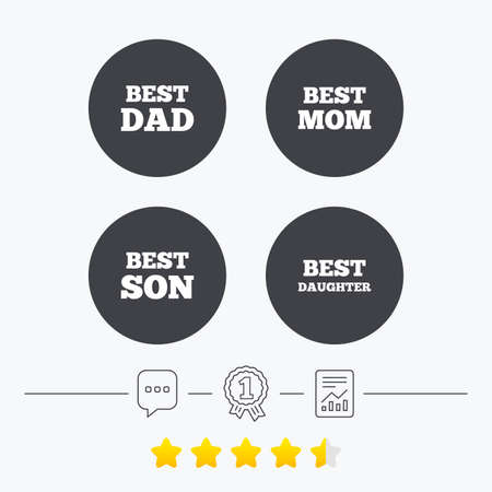 dad and son: Best mom and dad, son and daughter icons. Award symbols. Chat, award medal and report linear icons. Star vote ranking. Vector