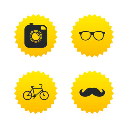 yellow photo: Hipster photo camera with mustache icon. Glasses symbol. Bicycle family vehicle sign. Yellow stars labels with flat icons. Vector