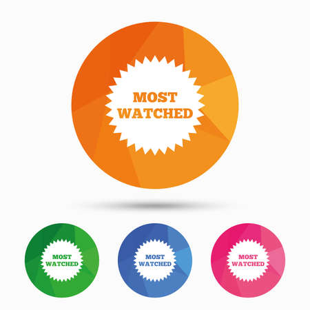 viewed: Most watched sign icon. Most viewed symbol. Triangular low poly button with flat icon. Vector Illustration