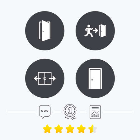 emergency exit icon: Automatic door icon. Emergency exit with human figure and arrow symbols. Fire exit signs. Chat, award medal and report linear icons. Star vote ranking. Vector