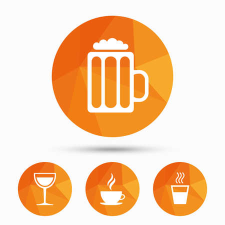 low glass: Drinks icons. Coffee cup and glass of beer symbols. Wine glass sign. Triangular low poly buttons with shadow. Vector