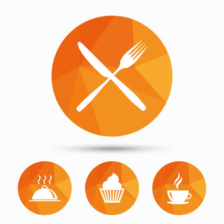 Food and drink icons. Muffin cupcake symbol. Fork and knife sign. Hot coffee cup. Food platter serving. Triangular low poly buttons with shadow. Vector