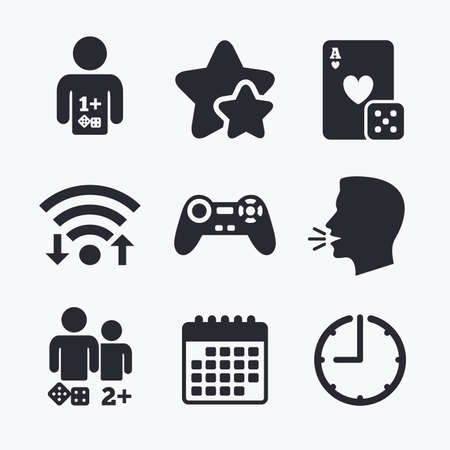 two friends talking: Gamer icons. Board games players signs. Video game joystick symbol. Casino playing card. Wifi internet, favorite stars, calendar and clock. Talking head. Vector