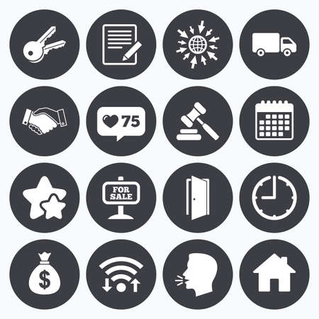 car for sale: Calendar, wifi and clock symbols. Like counter, stars symbols. Real estate, auction icons. Handshake, for sale and money bag signs. Keys, delivery truck and door symbols. Talking head, go to web symbols. Vector