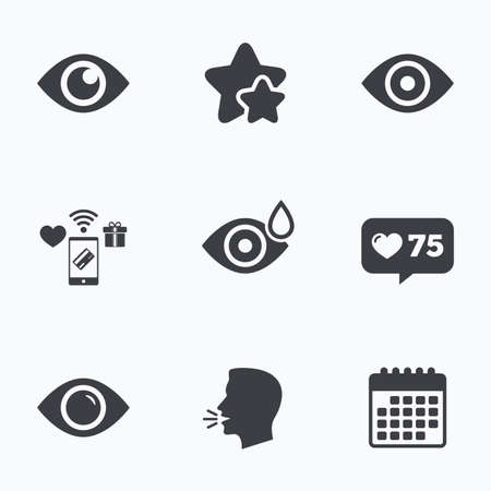 red eye: Eye icons. Water drops in the eye symbols. Red eye effect signs. Flat talking head, calendar icons. Stars, like counter icons. Vector