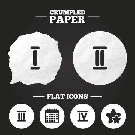 ancient rome: Crumpled paper speech bubble. Roman numeral icons. 1, 2, 3 and 4 digit characters. Ancient Rome numeric system. Paper button. Vector