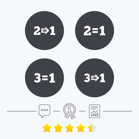 pay for: Special offer icons. Take two pay for one sign symbols. Profit at saving. Chat, award medal and report linear icons. Star vote ranking. Vector
