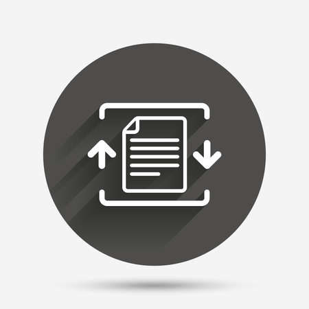 zipped: Archive file sign icon. Compressed zipped file symbol. Arrows. Circle flat button with shadow. Vector