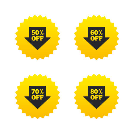 50 to 60: Sale arrow tag icons. Discount special offer symbols. 50%, 60%, 70% and 80% percent off signs. Yellow stars labels with flat icons. Vector