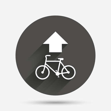 straight path: Bicycle path trail sign icon. Cycle path. Up straight arrow symbol. Circle flat button with shadow. Vector Illustration