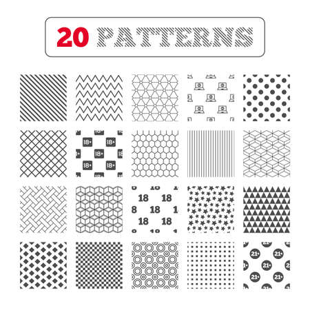 pornography: Ornament patterns, diagonal stripes and stars. Adult content icons. Eighteen and twenty-one plus years sign symbols. Notebook website notice. Geometric textures. Vector