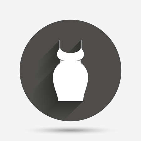 big breast: Pregnant woman dress sign icon. Maternity clothing symbol Circle flat button with shadow. Vector