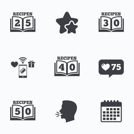 reading app: Cookbook icons. 25, 30, 40 and 50 recipes book sign symbols. Flat talking head, calendar icons. Stars, like counter icons. Vector