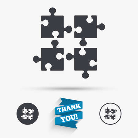 ingenuity: Puzzles pieces sign icon. Strategy symbol. Ingenuity test game. Flat icons. Buttons with icons. Thank you ribbon. Vector Illustration