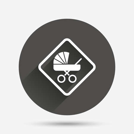 buggy: Baby on board sign icon. Infant in car caution symbol. Baby buggy carriage. Circle flat button with shadow. Vector Illustration