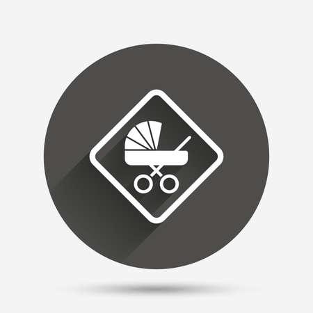 bebe a bordo: Bebé a bordo icono de la señal. Infantil en símbolo de precaución coche. carro de cochecitos de bebé. Círculo botón plano con la sombra. Vector