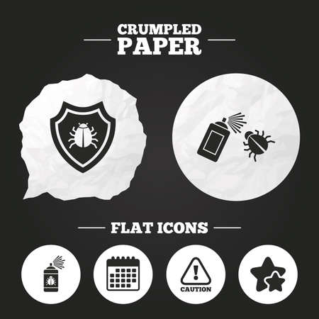 insanitary: Crumpled paper speech bubble. Bug disinfection icons. Caution attention and shield symbols. Insect fumigation spray sign. Paper button. Vector Illustration