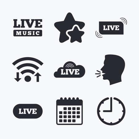live stream music: Live music icons. Karaoke or On air stream symbols. Cloud sign. Wifi internet, favorite stars, calendar and clock. Talking head. Vector