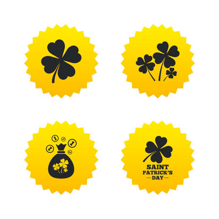 Saint Patrick day icons. Money bag with clovers and coins sign. Symbol of good luck. Yellow stars labels with flat icons. Vector