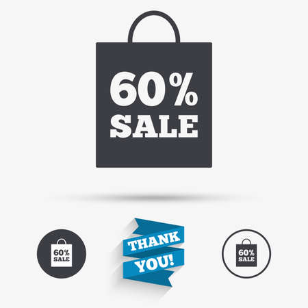 you are special: 60% sale bag tag sign icon. Discount symbol. Special offer label. Flat icons. Buttons with icons. Thank you ribbon. Vector