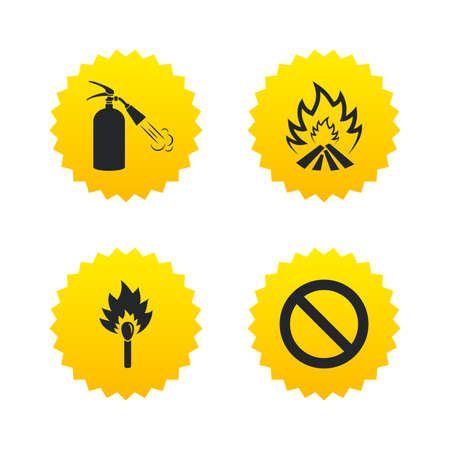 extinguishing: Fire flame icons. Fire extinguisher sign. Prohibition stop symbol. Burning matchstick. Yellow stars labels with flat icons. Vector Illustration