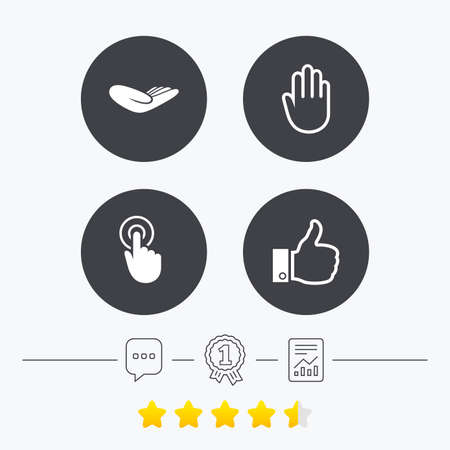 vote here: Hand icons. Like thumb up symbol. Click here press sign. Helping donation hand. Chat, award medal and report linear icons. Star vote ranking. Vector