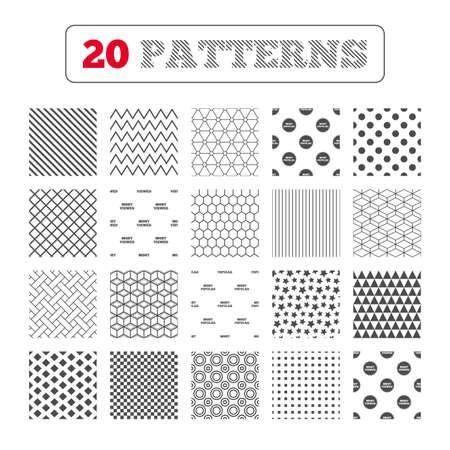 viewed: Ornament patterns, diagonal stripes and stars. Most popular star icon. Most viewed symbols. Clients or customers choice signs. Geometric textures. Vector Illustration