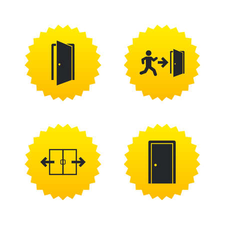Automatic door icon. Emergency exit with human figure and arrow symbols. Fire exit signs. Yellow stars labels with flat icons. Vector Illustration