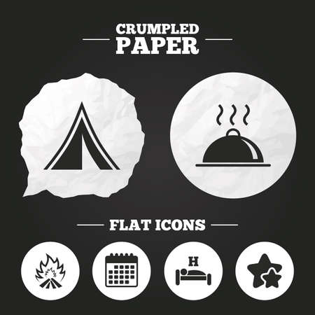 breakfast in bed: Crumpled paper speech bubble. Hot food, sleep, camping tent and fire icons. Hotel or bed and breakfast. Road signs. Paper button. Vector