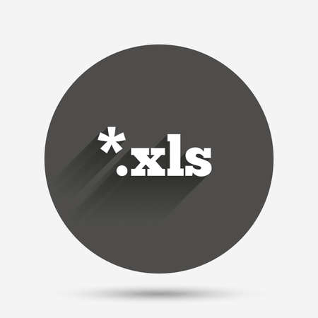 xls: Excel file document icon. Download xls button. XLS file extension symbol. Circle flat button with shadow. Vector
