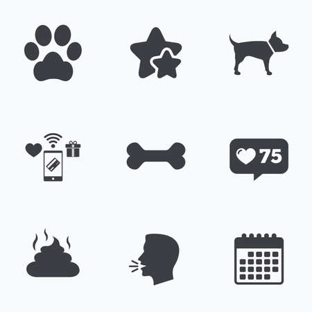 treat like a dog: Pets icons. Dog paw and feces signs. Clean up after pets. Pets food. Flat talking head, calendar icons. Stars, like counter icons. Vector