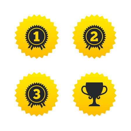 First, second and third place icons. Award medals sign symbols. Prize cup for winner. Yellow stars labels with flat icons. Vector Illustration