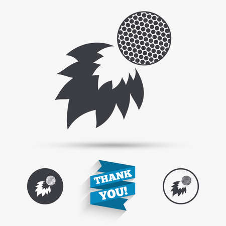 fireball: Golf fireball sign icon. Sport symbol. Flat icons. Buttons with icons. Thank you ribbon. Vector