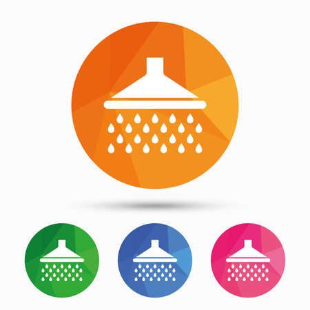 washstand: Shower sign icon. Douche with water drops symbol. Triangular low poly button with flat icon. Vector