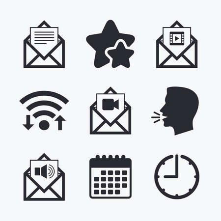 webmail: Mail envelope icons. Message document symbols. Video and Audio voice message signs. Wifi internet, favorite stars, calendar and clock. Talking head. Vector Illustration