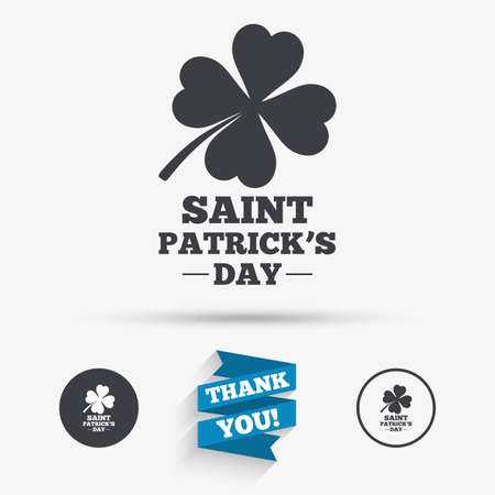 clover buttons: Clover with four leaves sign icon. Saint Patrick quatrefoil luck symbol. Flat icons. Buttons with icons. Thank you ribbon. Vector Illustration