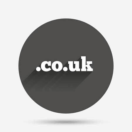 subdomain: Domain CO.UK sign icon. UK internet subdomain symbol. Circle flat button with shadow. Vector