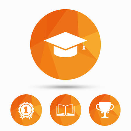 reading app: Graduation icons. Graduation student cap sign. Education book symbol. First place award. Winners cup. Triangular low poly buttons with shadow. Vector