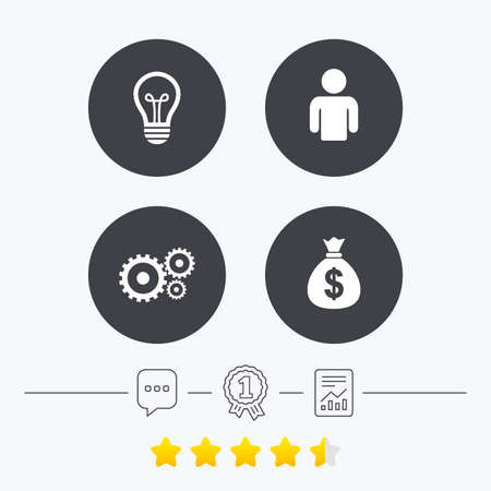 energy ranking: Business icons. Human silhouette and lamp bulb idea signs. Dollar money bag and gear symbols. Chat, award medal and report linear icons. Star vote ranking. Vector
