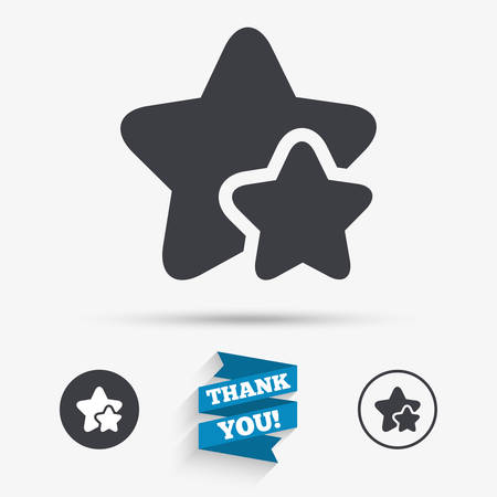 best rated: Star icon. Favorite sign. Best rated symbol. Flat icons. Buttons with icons. Thank you ribbon. Vector Illustration